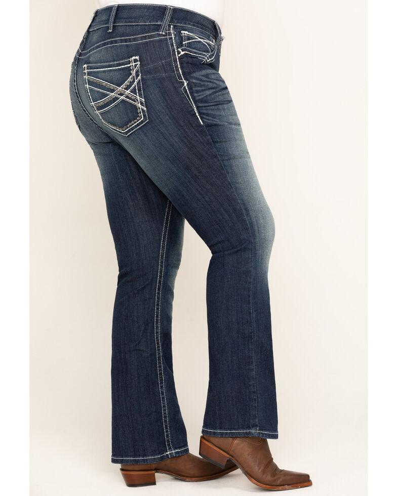 Ariat Women's Mid Rise Bootcut Real Riding Jeans - Plus, Blue, hi-res