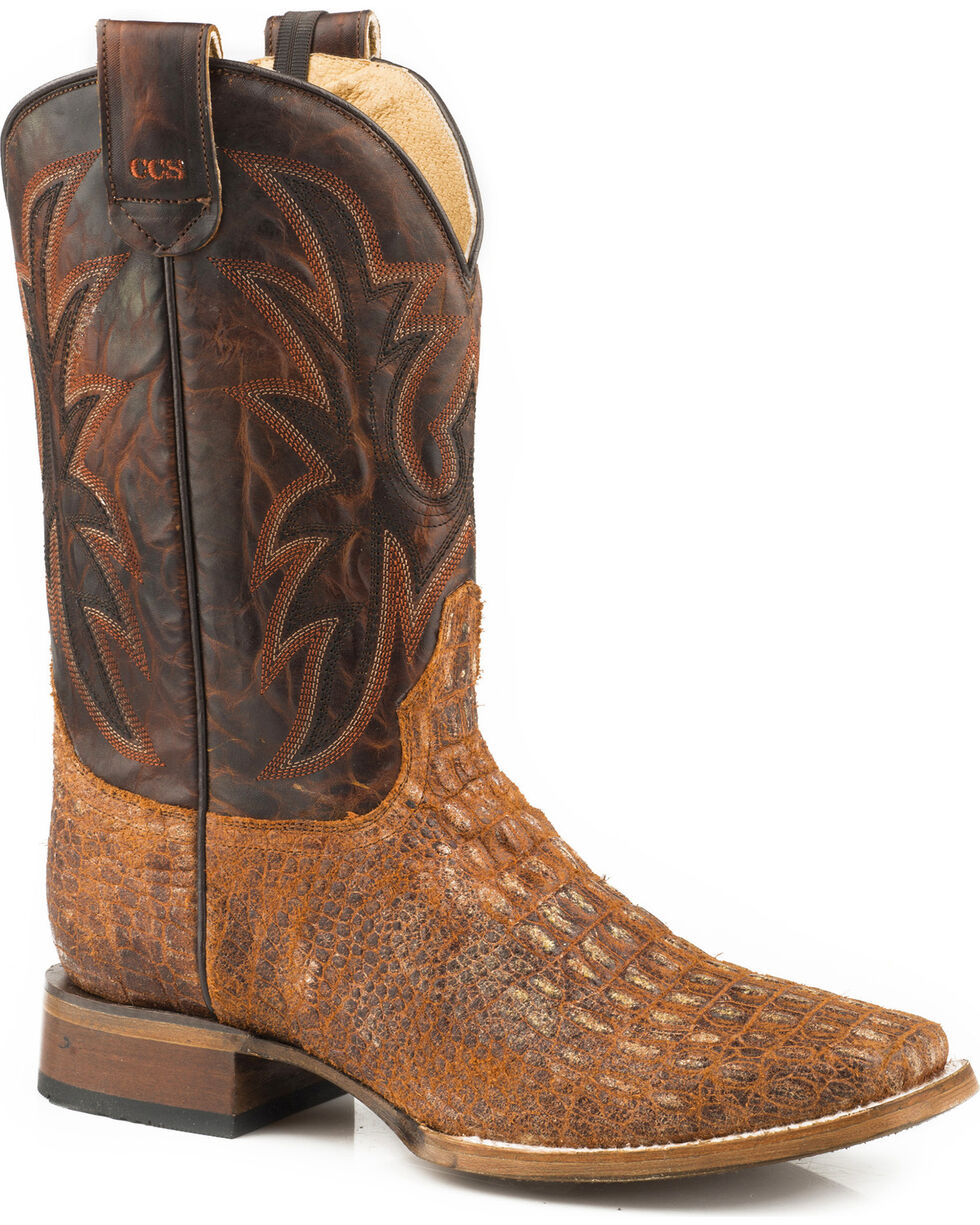 Roper Men's Pierce Embossed Caiman Sidewinder Concealed Carry System Cowboy Boots - Square Toe , Brown, hi-res