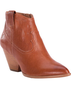 Frye Women's Cognac Reina Leather Booties - Pointed Toe , Cognac, hi-res