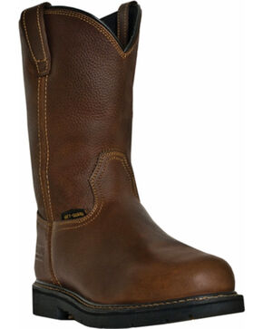 "McRae Men's 11"" Met Guard Steel Toe Work Boots, Brown, hi-res"