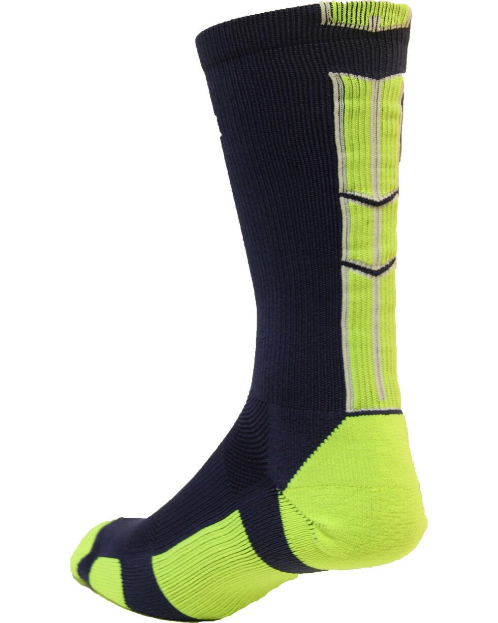 Cinch Men's Navy and Lime Crew Socks , Navy, hi-res