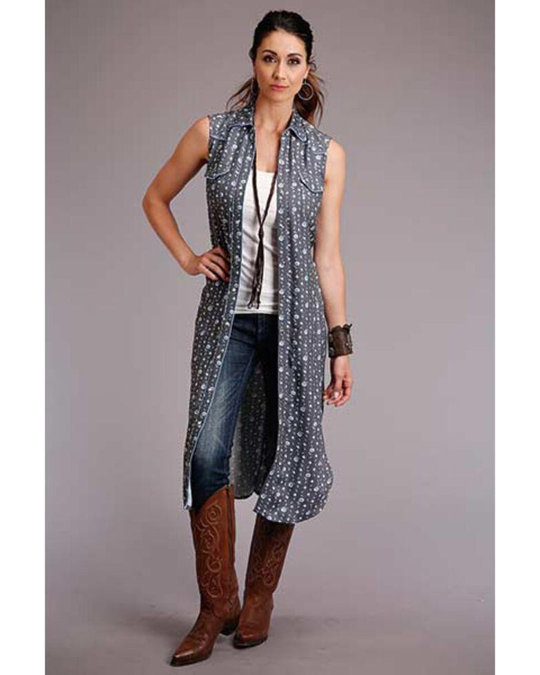Stetson Women's Grey Floral Sleeveless Shirt Dress, Grey, hi-res