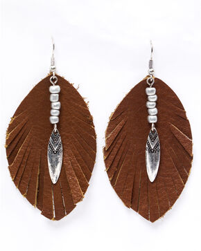 Shyanne Women's Emma Rae Brown Suede Feather Earrings, Brown, hi-res