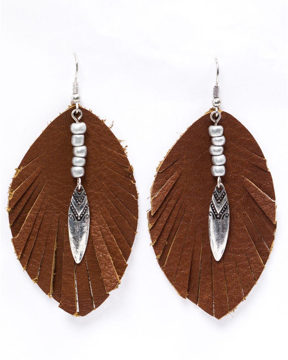 Shyanne Women's Emma Rae Brown Suede Feather Earrings, Brown, hi-res