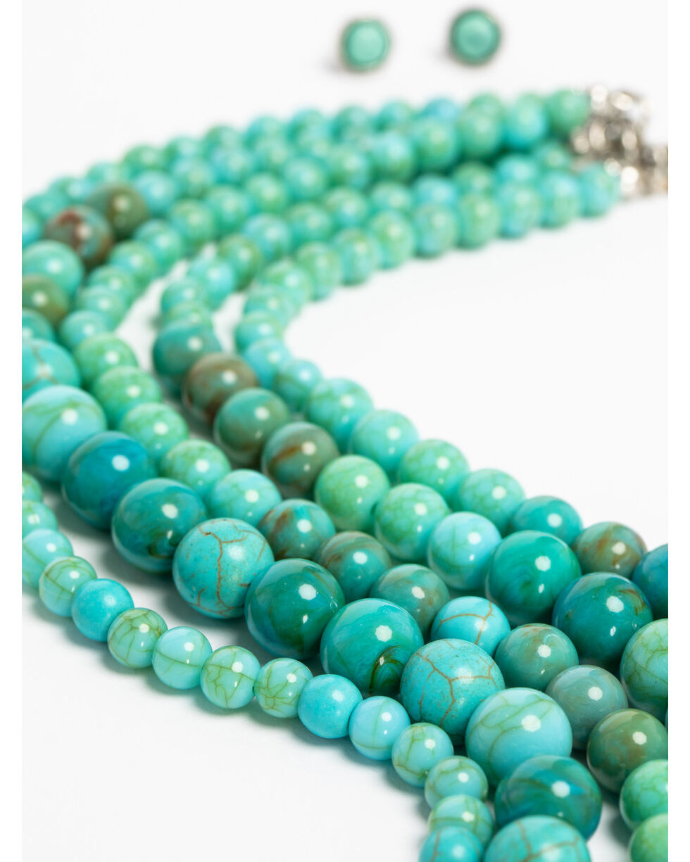 Shyanne Women's Sedona Spice Chunky Turquoise Beaded Necklace Set, Turquoise, hi-res