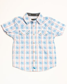 Cody James Toddler Boys' Crooks Cross Plaid Short Sleeve Western Shirt , White, hi-res