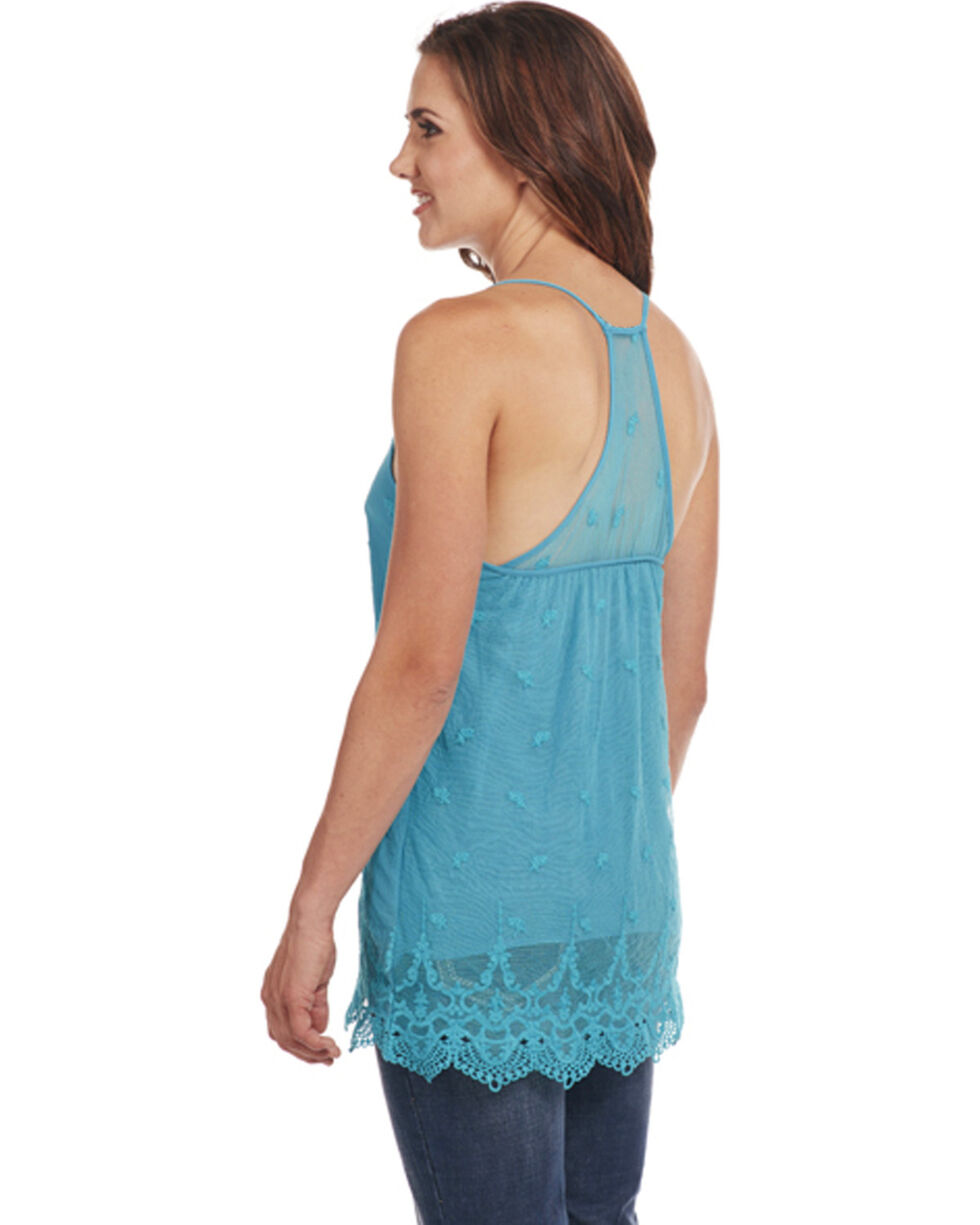 Cowgirl Up Women's Teal Scalloped Lace Tank , Teal, hi-res
