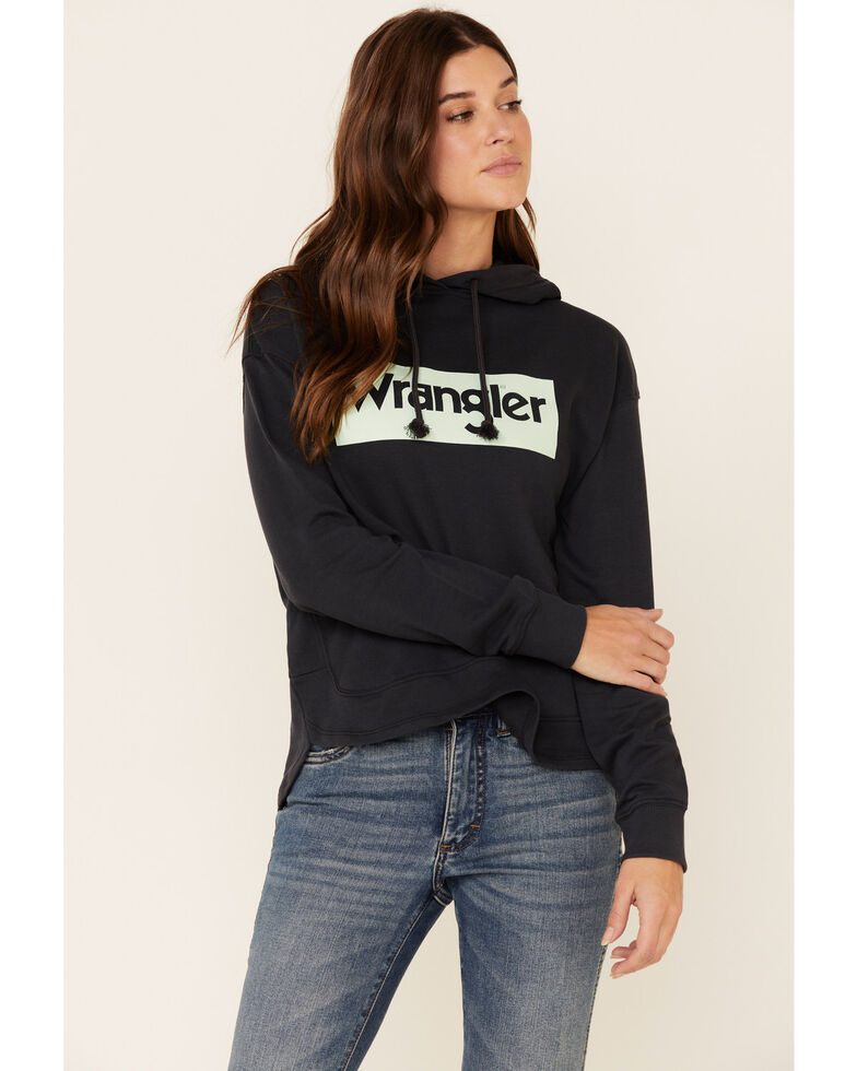 Wrangler Women's Navy Aqua Logo Front Graphic Hooded Sweatshirt , Navy, hi-res