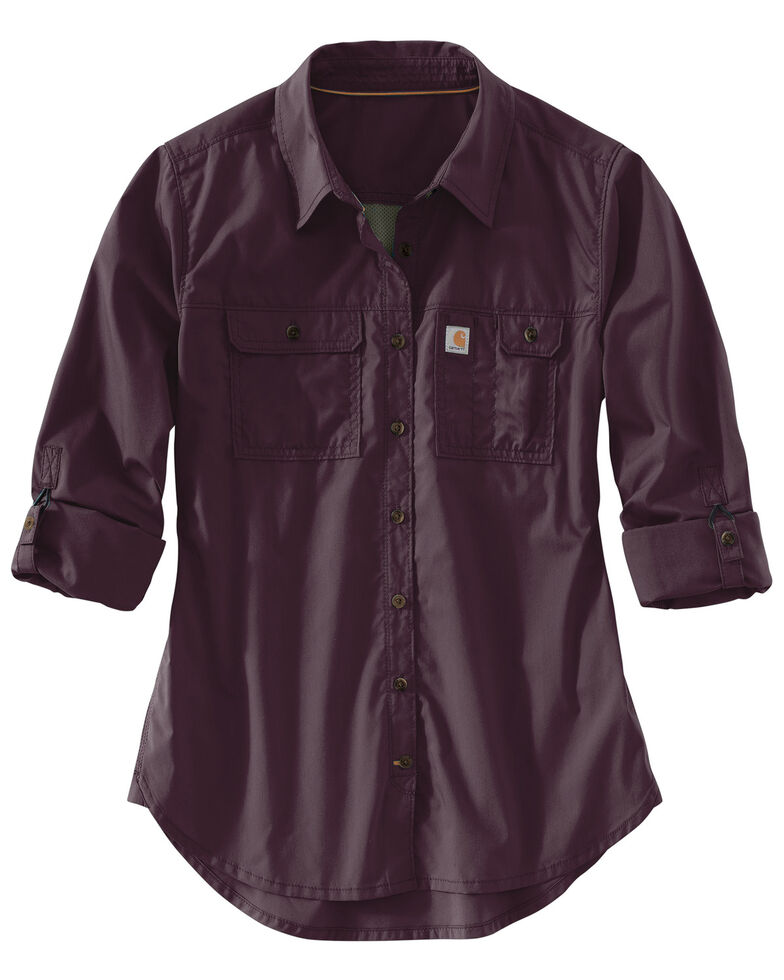 Carhartt Women's Force Ridgefield Shirt , Wine, hi-res