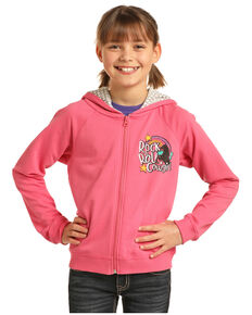Rock & Roll Cowgirl Girls' Pink Rainbow Logo Hoodie, Pink, hi-res
