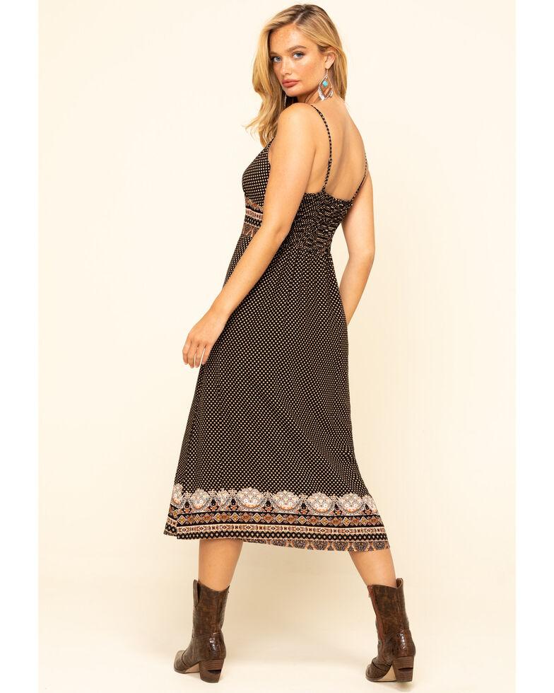 Luna Chix Women's Dot & Aztec Border Print Midi Slip Dress, Black, hi-res