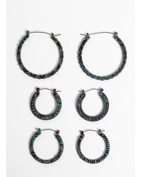 Shyanne Women's Patina Crescent 3 Piece Hoop Earring Set, Turquoise, hi-res