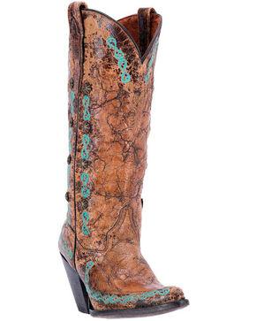 Dan Post Women's Maxi Western Boots, Tan/turquoise, hi-res