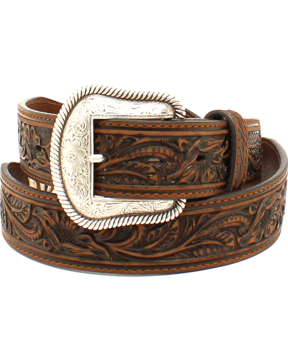 Nocona Men's Scalloped Rawhide Leather Belt , Brown, hi-res