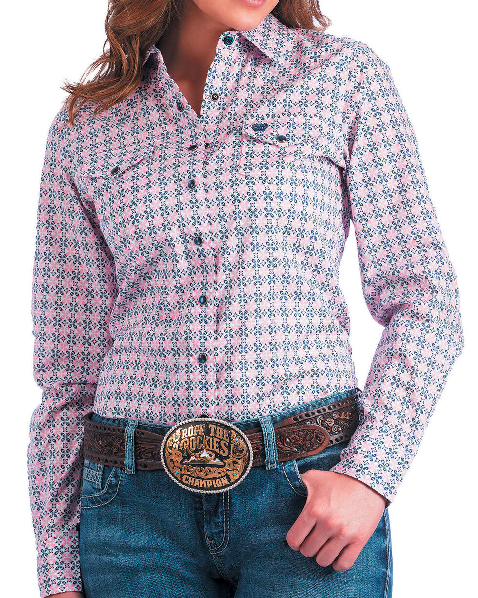 Cinch Women's Pink Medallion Print Western Shirt , Purple, hi-res
