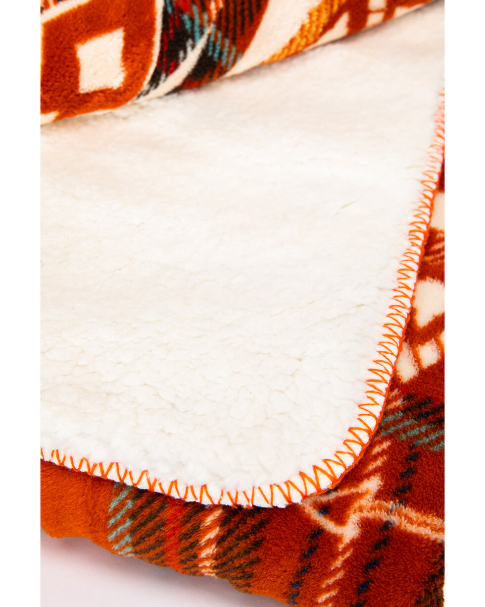 BB Ranch Fall Plaid Sherpa Blanket, Multi, hi-res
