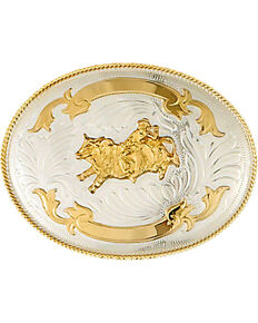 Western Express Men's Silver Bullrider Trophy Belt Buckle , Silver, hi-res