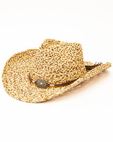 San Diego Hat Co. Women's Natural Crochet Straw Hat, Natural, hi-res