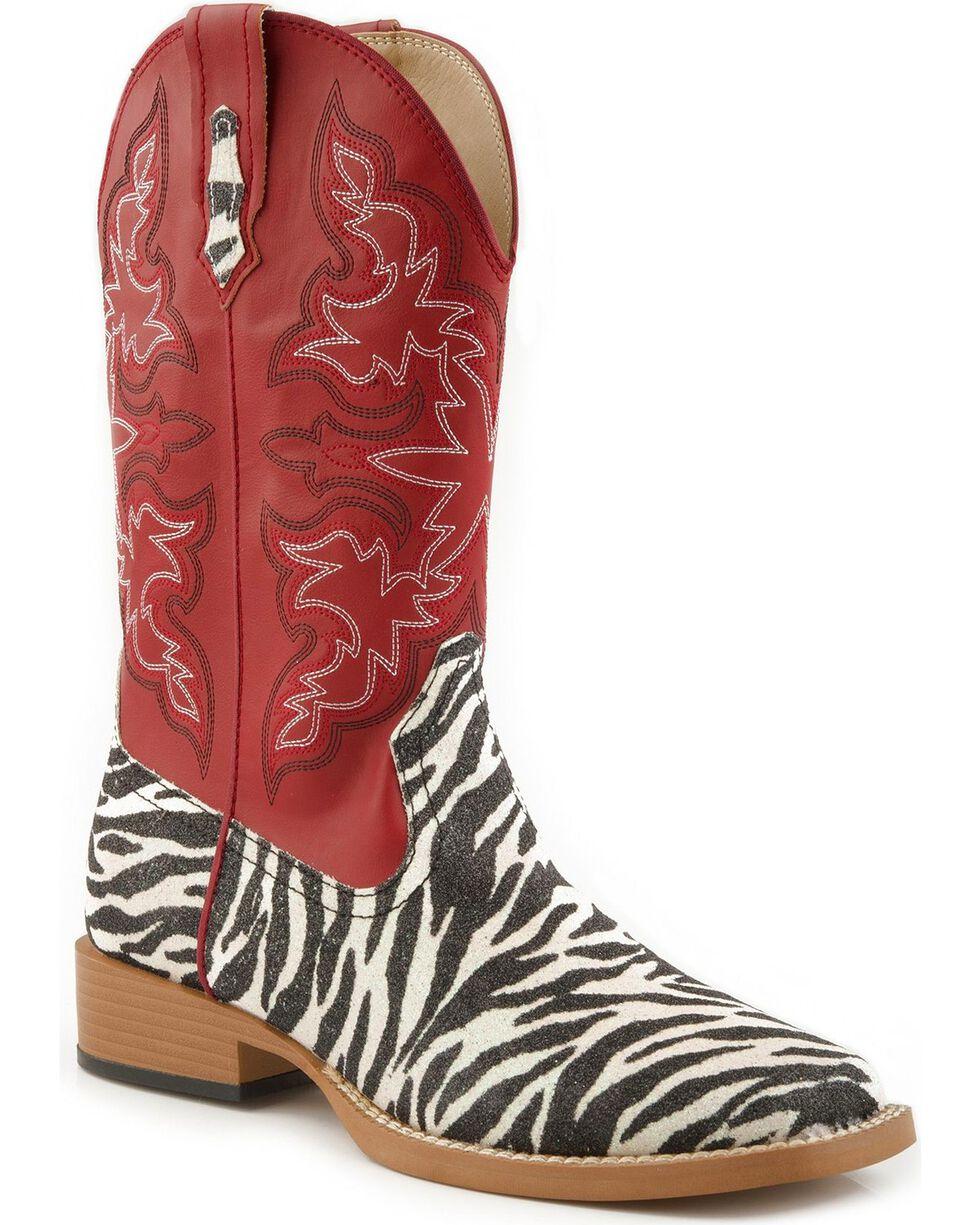 Roper Women's Glitter Zebra Western Boots, Zebra, hi-res