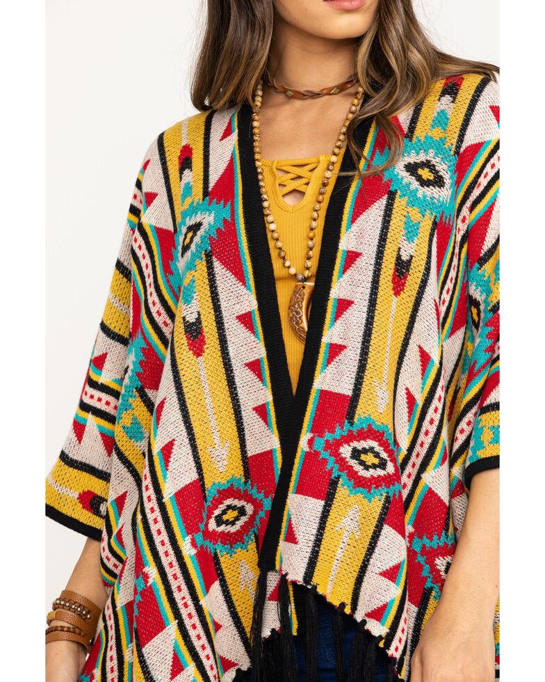 Rock & Roll Cowgirl Women's Aztec Fringe Poncho Cardigan , Multi, hi-res