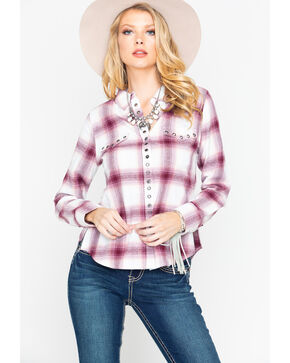 Shyanne Women's Plaid Rivet Flannel Shirt , Ivory, hi-res