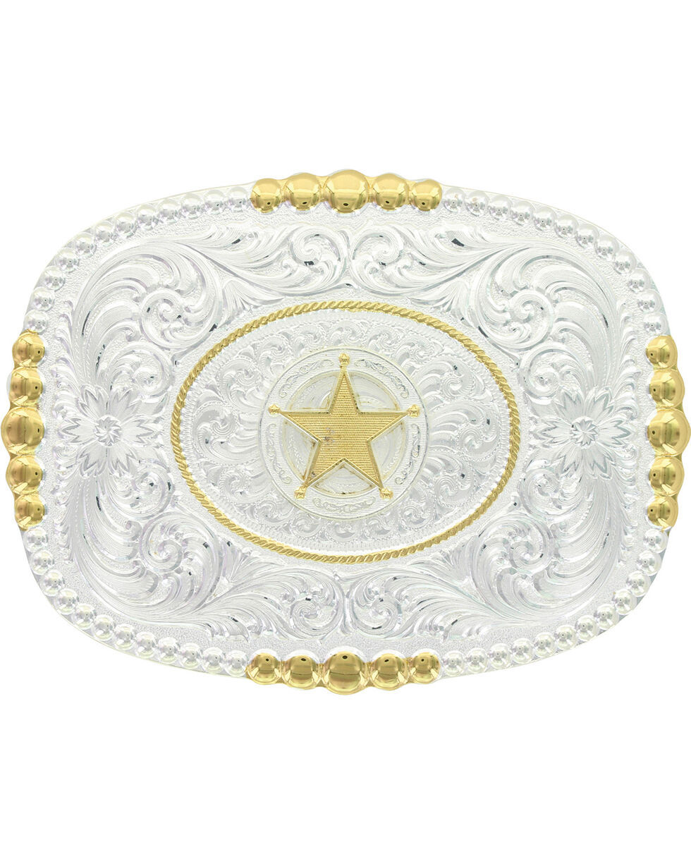 Montana Silversmiths Men's Two Tone Pioneer Portrait Concho Star Buckle, Silver, hi-res