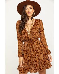 Trixxi Women's Brown Leopard Surplice Chiffon Fit & Flare Dress, Leopard, hi-res