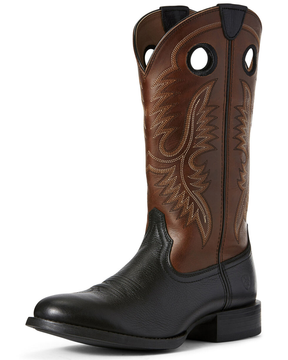 Ariat Men's Big Hoss Western Boots - Round Toe, Black, hi-res