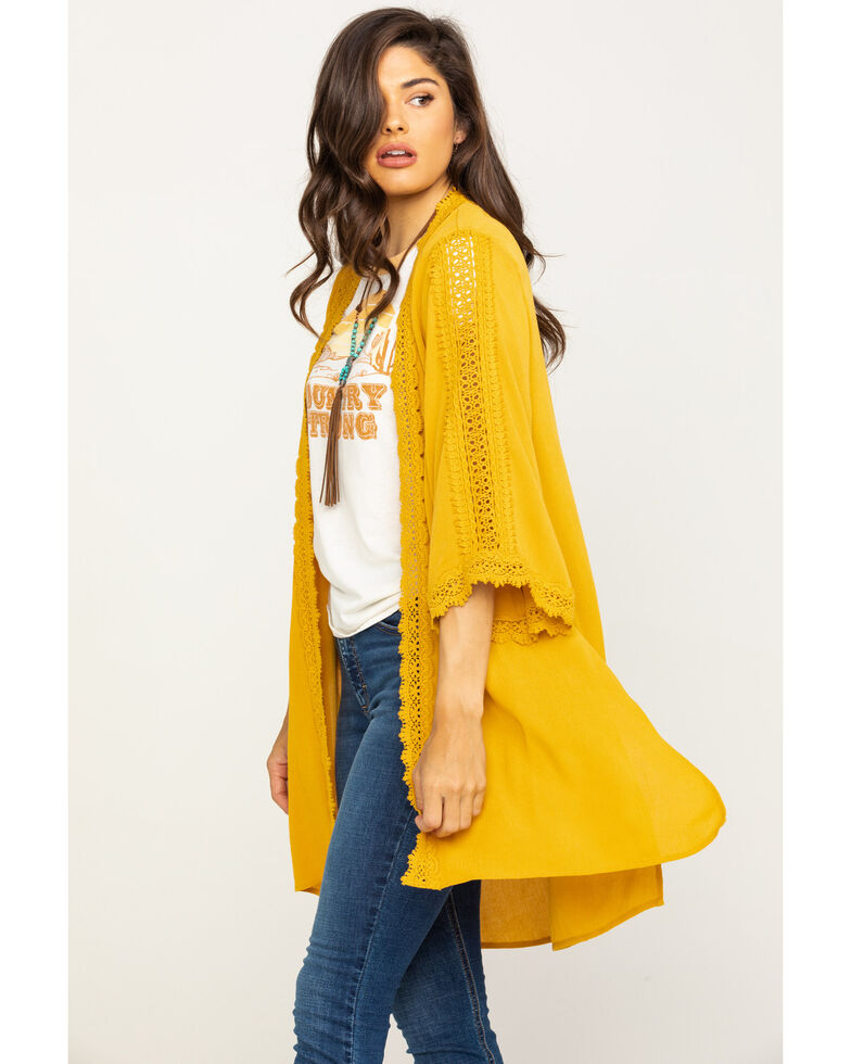 Eyeshadow Women's Mustard Crepe Crochet Kimono, Dark Yellow, hi-res