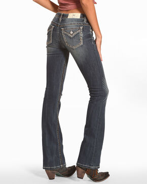 Miss Me Women's Faux Flap Pocket Boot Cut Jeans, Blue, hi-res