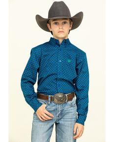 Cinch Boys' Royal Blue Geo Print Long Sleeve Western Shirt , Royal Blue, hi-res