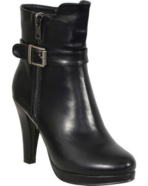 Milwaukee Leather Women's Side Zipper Entry High Heel Boots - Round Toe, Black, hi-res