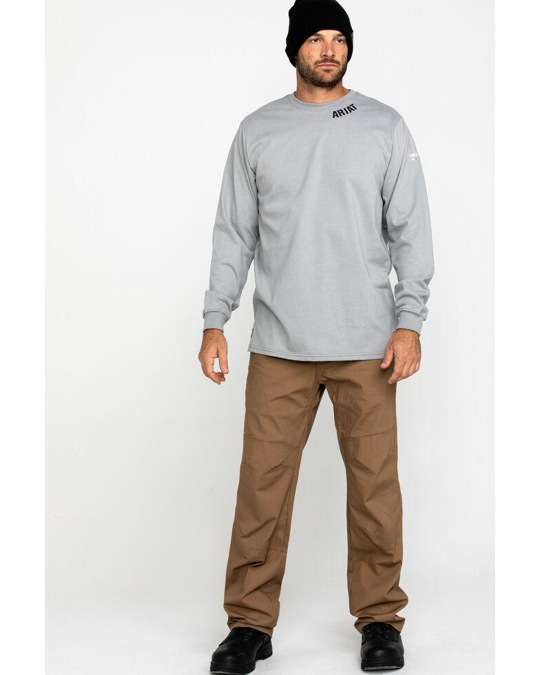 Ariat Men's Grey FR Heartland Graphic Long Sleeve Work T-Shirt - Tall , Navy, hi-res