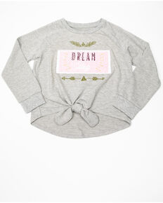 Shyanne Girls' Sequin Flip Long Sleeve Raglan, Heather Grey, hi-res