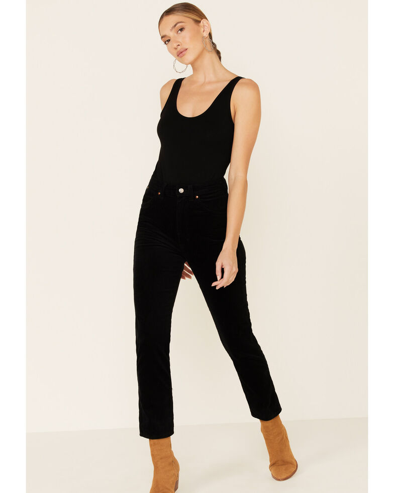 Wrangler Modern Women's High Rise Cropped Corduroy Jeans, Black, hi-res