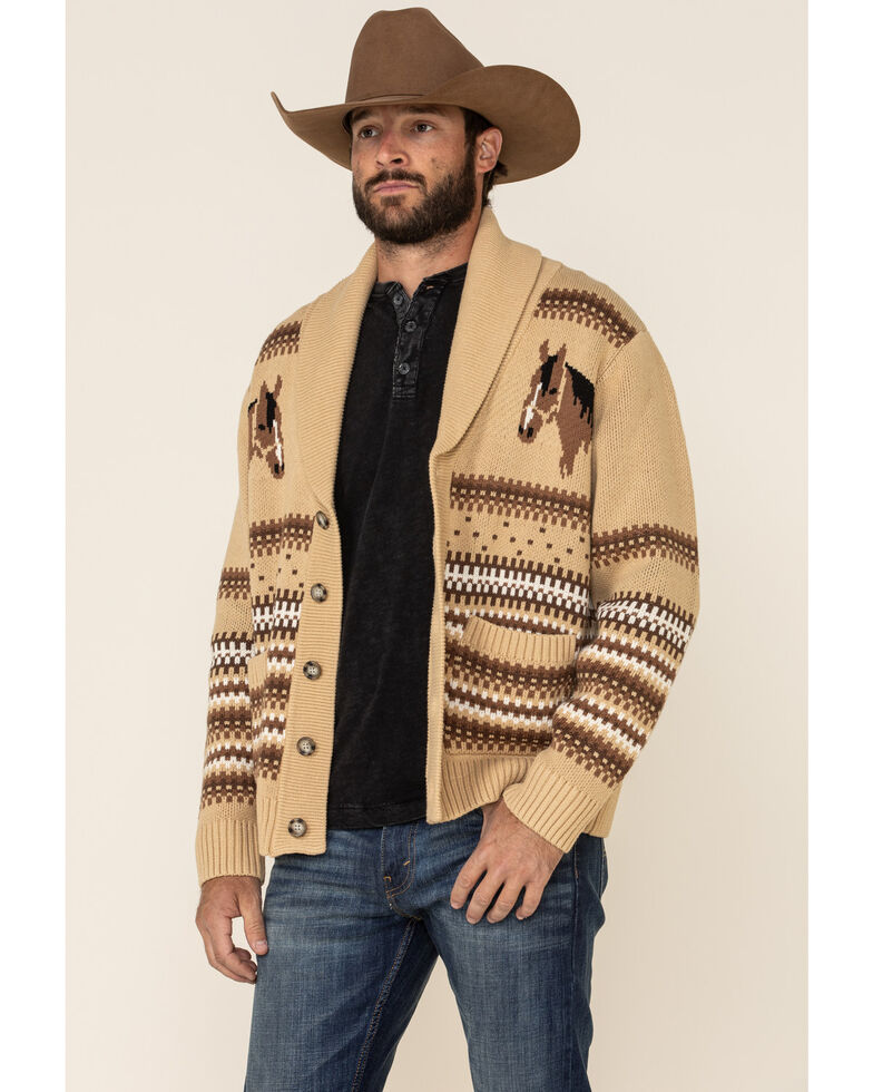 Cinch Men's Cream Horse Printed Button Knitted Sweater , Cream, hi-res