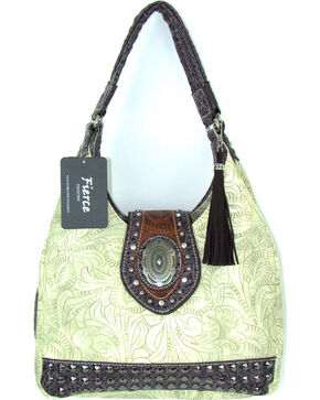 Savana Women's Fierce Tooled Design Conceal Carry Purse , Ivory, hi-res