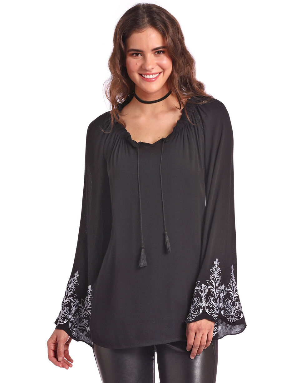Panhandle White Label Women's Peasant Bell Sleeve Top, Black, hi-res