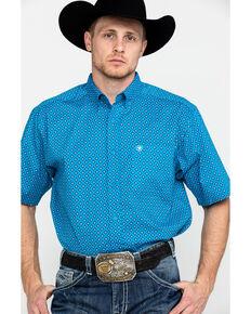 Ariat Men's Sparrow Stretch Geo Print Short Sleeve Western Shirt , Turquoise, hi-res