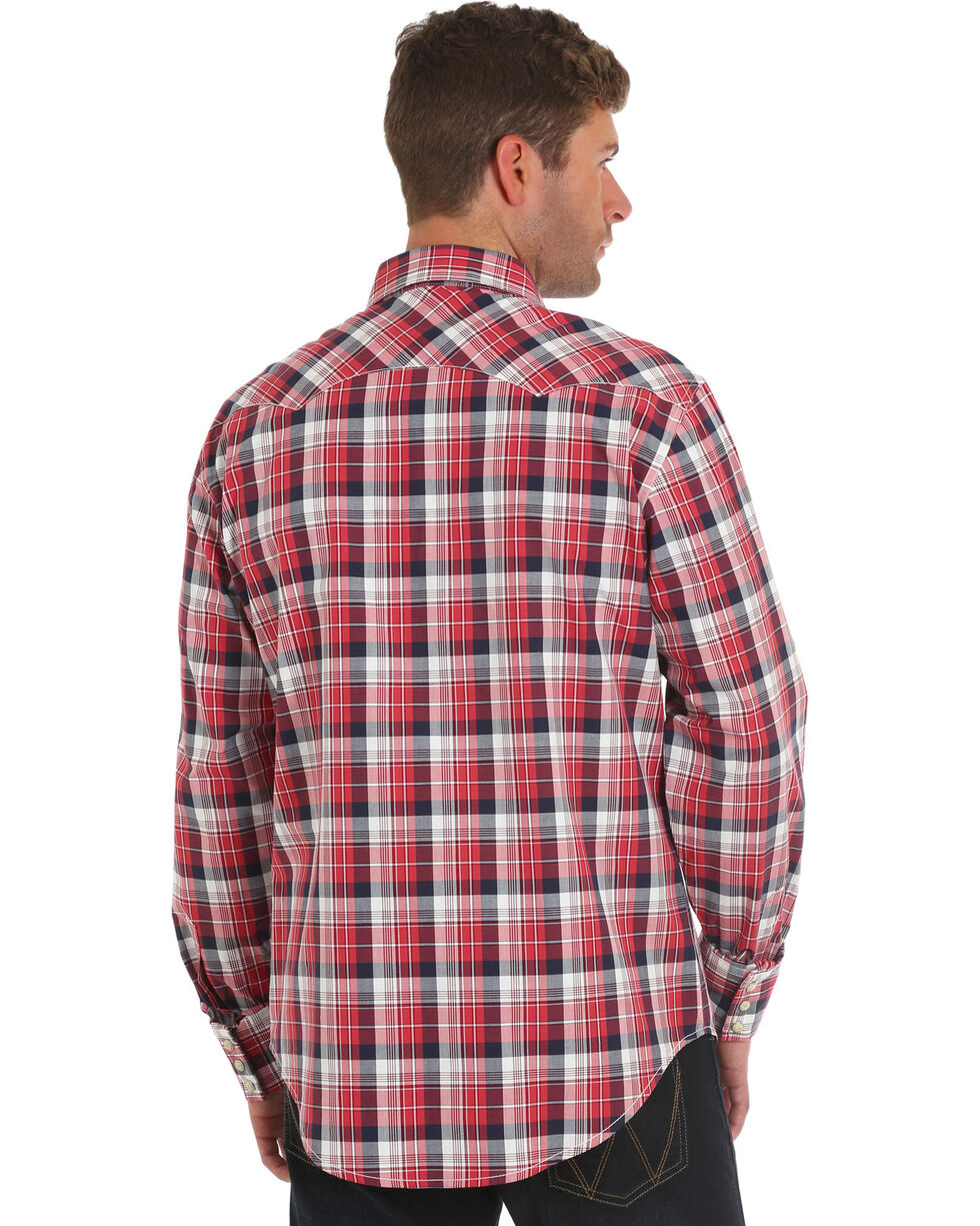 Wrangler Men's Retro Red Long Sleeve Plaid Shirt - Tall , Red, hi-res