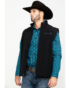 Cinch Men's Bonded Softshell Zip Vest, Black, hi-res