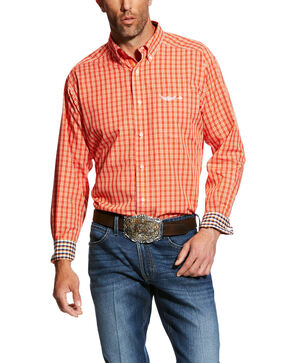 Ariat Men's Transcend Plaid Long Sleeve Western Shirt , Orange, hi-res