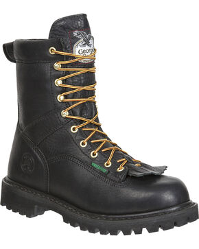 Georgia Men's Waterproof Logger Boots, Black, hi-res