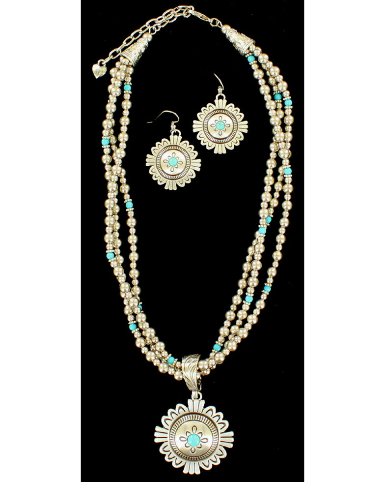 Blazin Roxx Three Strand Medallion Turquoise Necklace & Earrings Set, Silver, hi-res