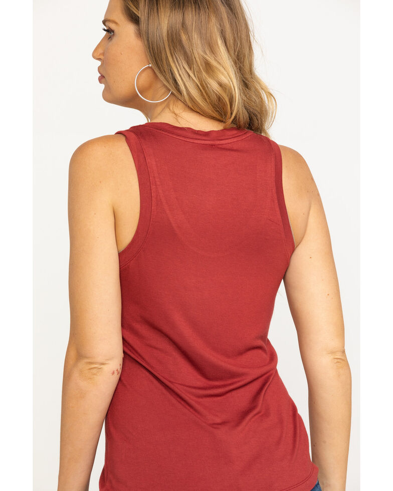Idyllwind Women's Back In The Saddle Trustie Tank, Burgundy, hi-res