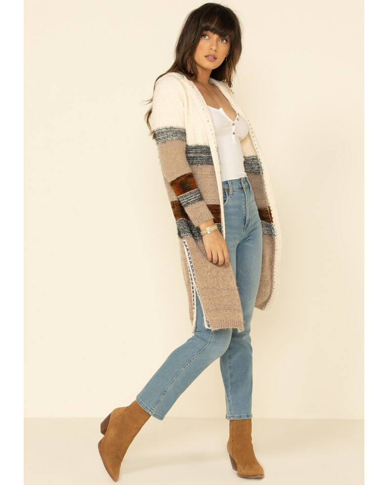 Nostalgia Women's Ivory Color Blocked Striped Hooded Fuzzy Cardigan , , hi-res