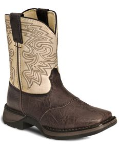 Durango Kid's Rebel Square Toe Western Boots, Brown, hi-res