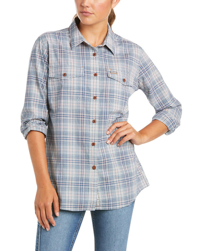 Ariat Women's Blue Plaid Rebar Made Tough DuraStretch Button-Down Work Shirt , Blue, hi-res