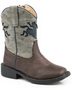 Roper Boys' Buckin Bronco Western Boots - Square Toe, Brown, hi-res