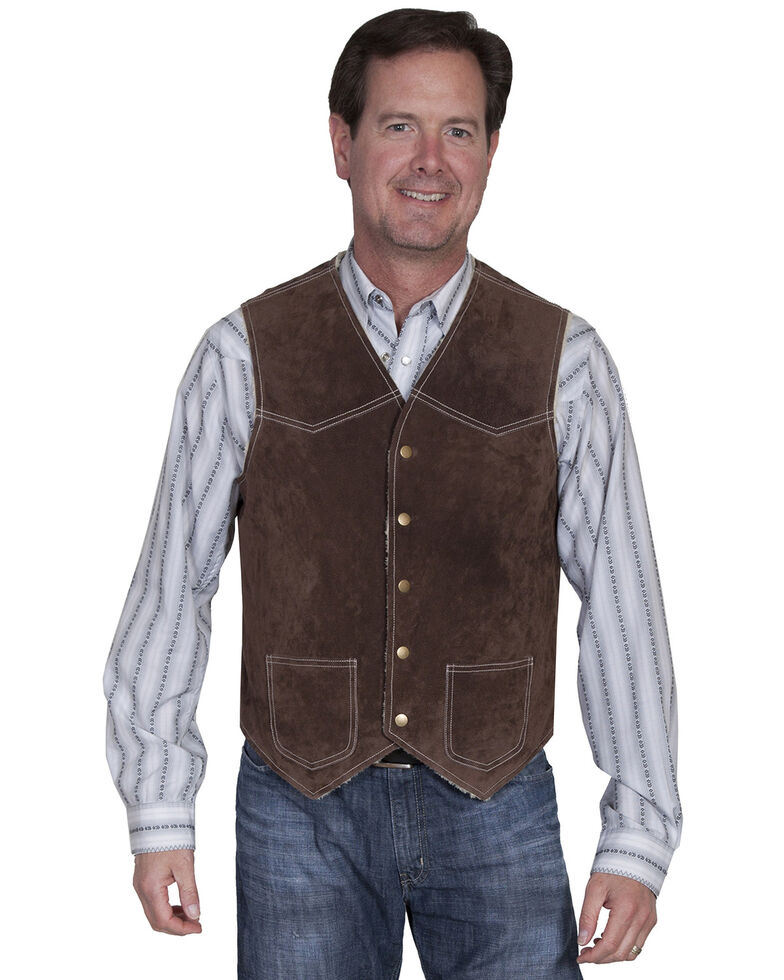 Scully Men's Boar Suede Hunting Vest, Chocolate, hi-res